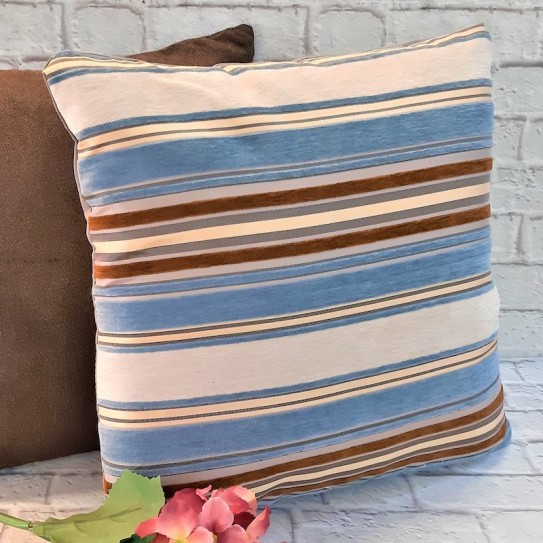 Cuscino arredo divano 43x43 stripe and blue