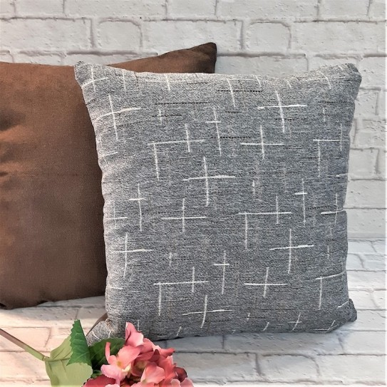 Cuscino arredo divano 43x43 cross one grey