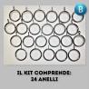 Bastone per tende Ovale classic nero e argento Bastone in ferro estensibile da 150 cm. fino a 300 cm. - Centro Scampoli