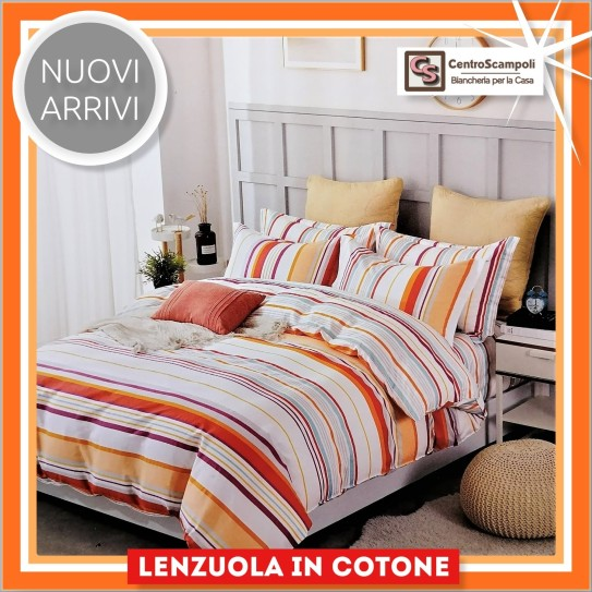 Lenzuola matrimoniali puro cotone Orange way Set completo letto - Centro Scampoli Carpenedolo