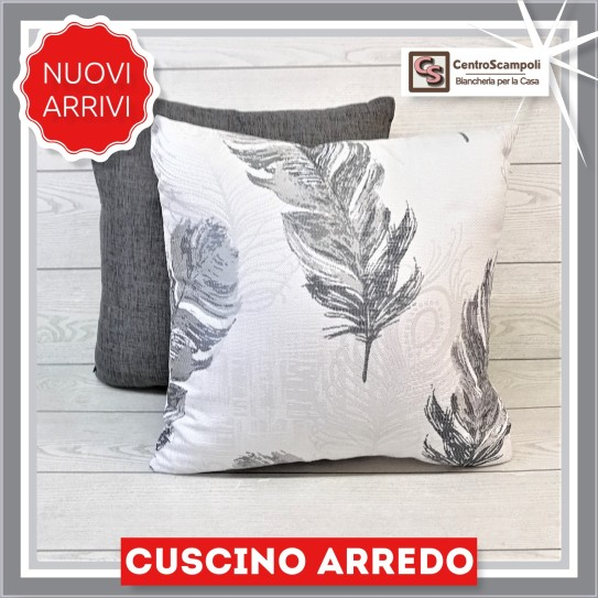 Cuscino arredo divano 40x40 Silver feather - Centro Scampoli Carpenedolo