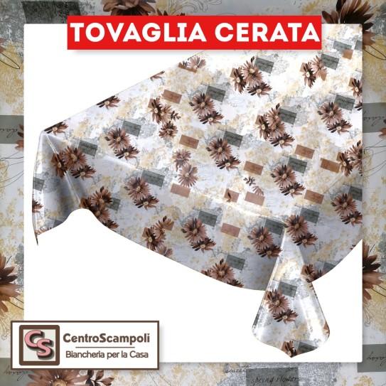 Tovaglia cerata PVC a metraggio brown flower PRODOTTO DISPONIBILE SOLO IN NEGOZIO PER INFORMAZIONI WHATSAPP: 351 59 44 9