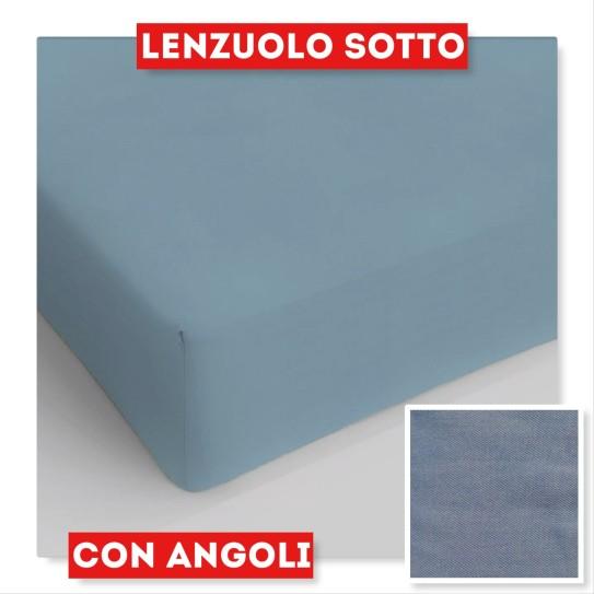 Lenzuola sotto con angoli matrimoniale blu PRODOTTO DISPONIBILE SOLO IN NEGOZIO - Centro Scampoli Carpenedolo