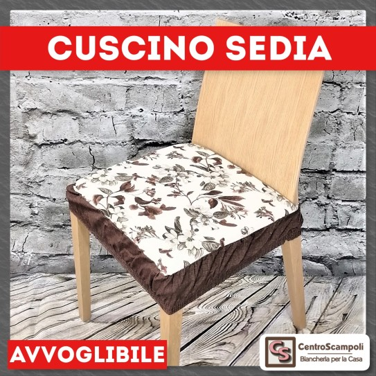 Coprisedia cuscino sfoderabile Gloria marrone - Centro Scampoli Carpenedolo