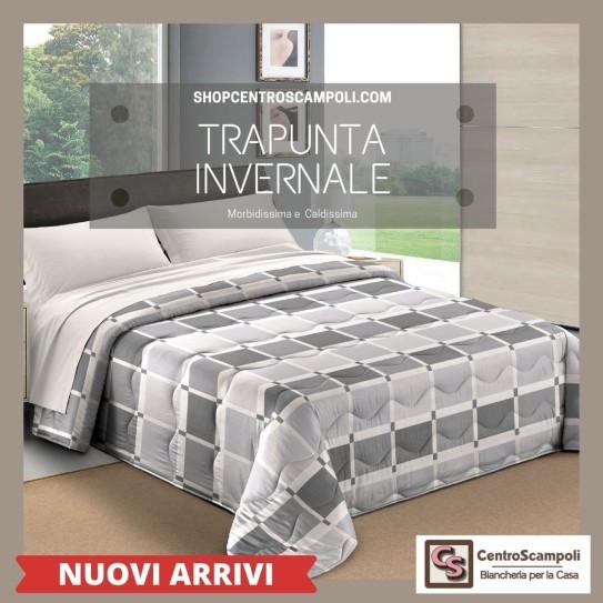 Trapunta matrimoniale piumone quadro grigio - Centro Scampoli Carpenedolo