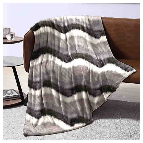 Plaid in pile matrimoniale grey wave