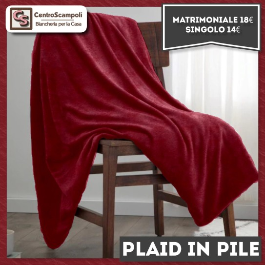 Plaid in pile singolo tinta unita bordeaux