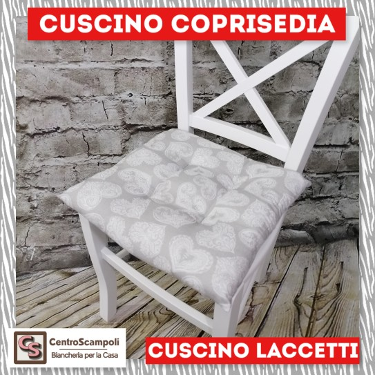 Cuscini per sedia laccetti Cuore grigio