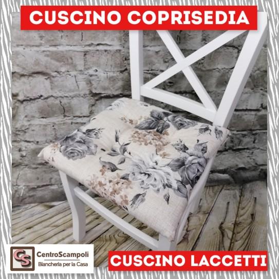 Cuscini per sedia laccetti Rosa grigia