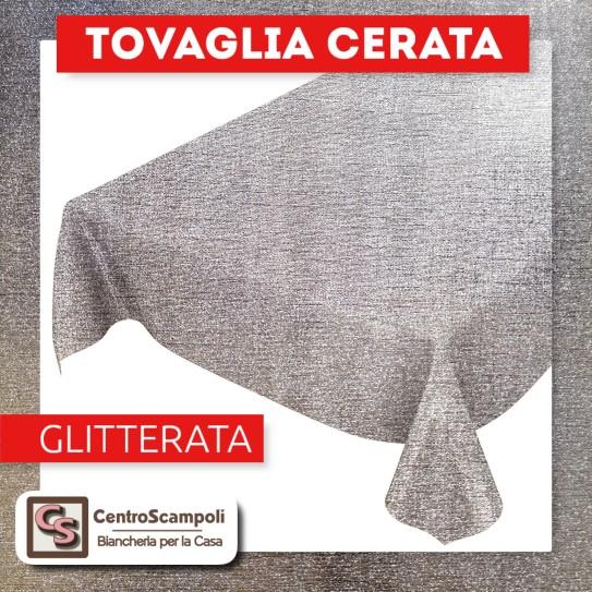 Tovaglia cerata PVC a metraggio GLITTER ACCIAIO