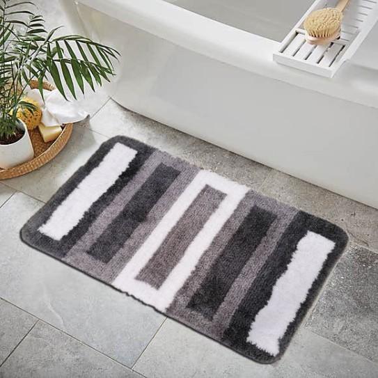 Tappeto bagno antiscivolo 50x80 barre grigio