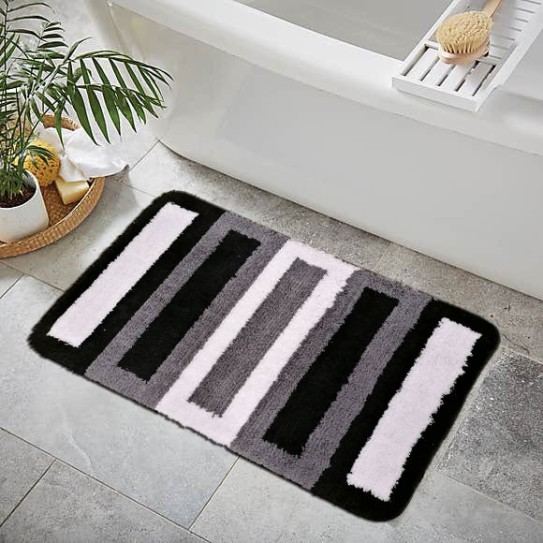 Tappeto bagno antiscivolo 50x80 barre nero