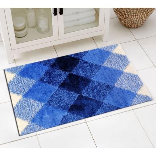 Tappeto bagno antiscivolo 50x80 diamante blu