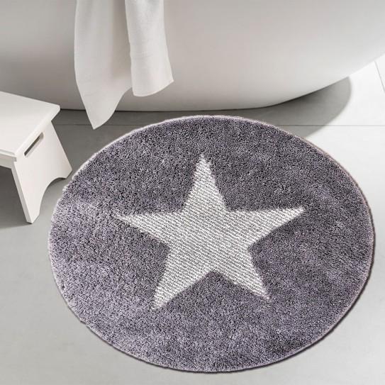 Tappeto bagno rotondo antiscivolo 60cm stella grigio
