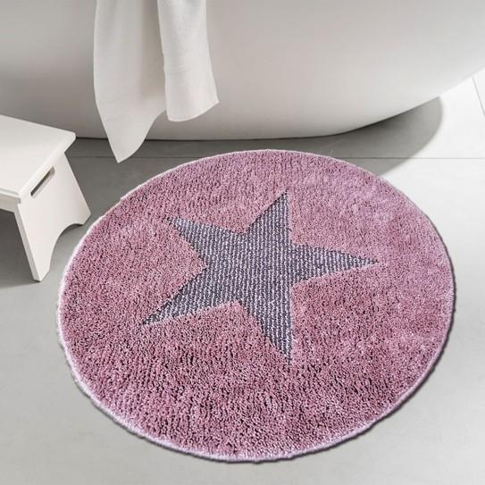 Tappeto bagno rotondo antiscivolo 60cm stella rosa