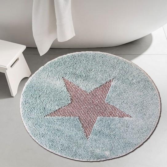 Tappeto bagno rotondo antiscivolo 60cm stella turchese